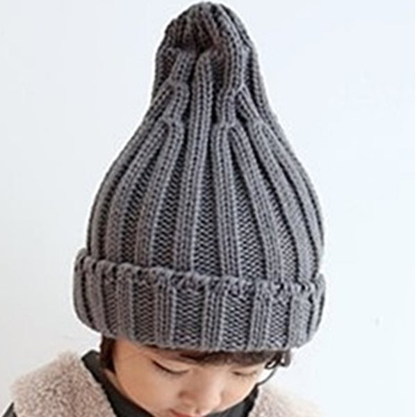 Twist Rib Knit Beanie (Grey)