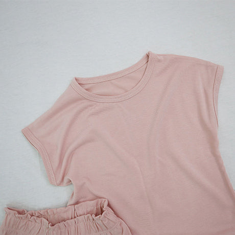 Soft Touch Cap Sleeve T-Shirt and Shorts Set (Pink)