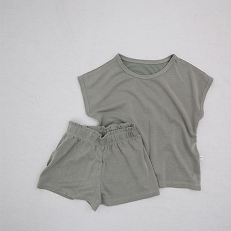 Soft Touch Cap Sleeve T-Shirt and Shorts Set (khaki)