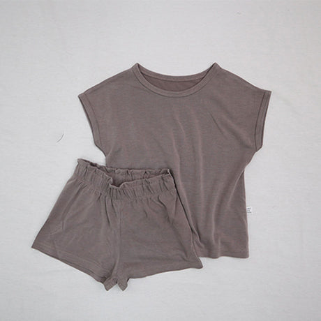 Soft Touch Cap Sleeve T-Shirt and Shorts Set (Beige)