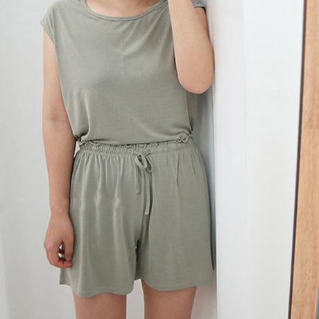 MAMA Soft Touch Cap Sleeve T-Shirt and Shorts Set (Khaki)