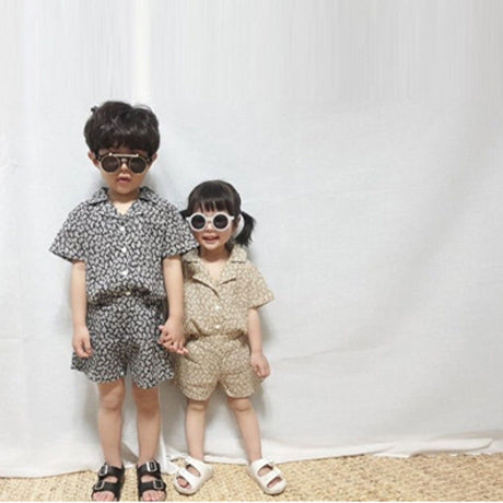 Siesta Unisex Floral Shirt and Shorts Set (Olive)