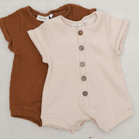 Artie Button Rib Romper (Cream)