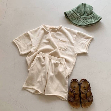 Gio Unisex Raw Sweatshirt and Shorts Set (ivory)