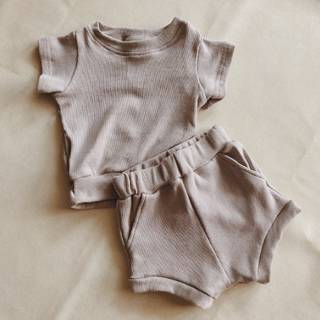 River Rib Summer 2 Piece Set (Warm Grey)