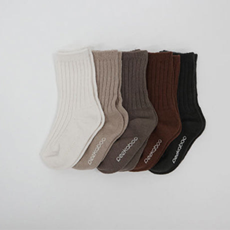 Mila Rib Cotton Socks 5 Piece Set