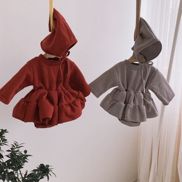 RaRa Sweat Dress Romper + Bonnet Set (Grey)