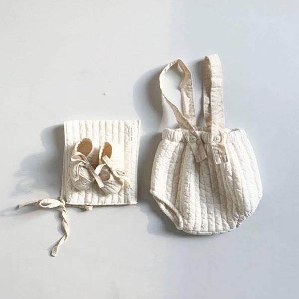 Bebe Bloomer + Bonnet +Shoes 3 Piece Set (Ivory)