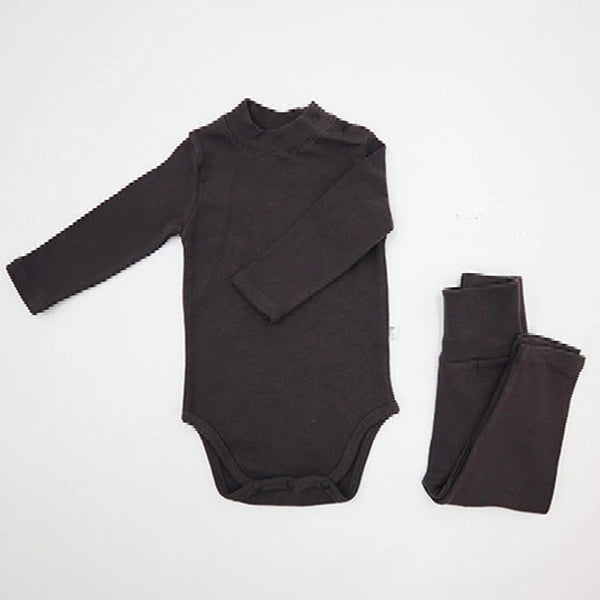 Turtle Romper and leggings Set (Off Black)