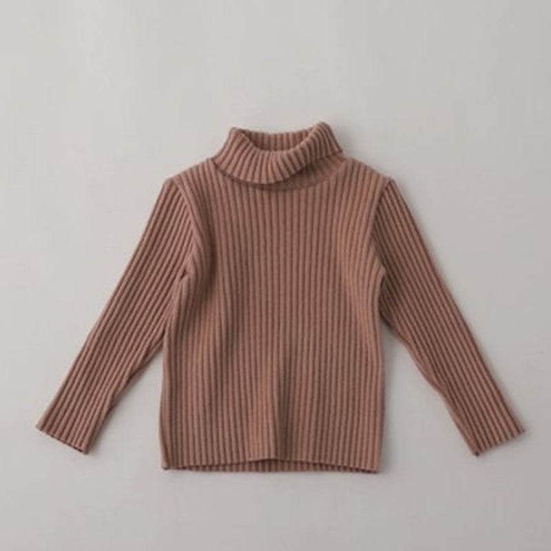 Rae Rib Brushed Turtleneck (Beige)