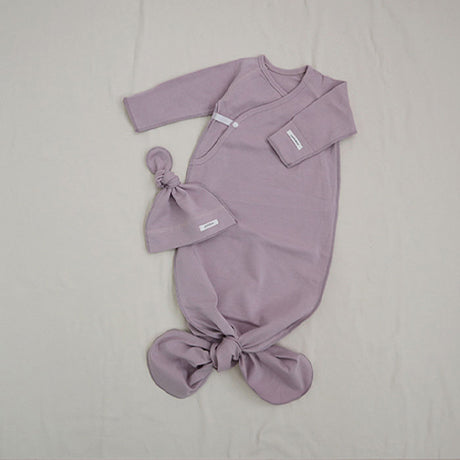 New Bebe Kimono Swaddle Suit with Knot Hat (Lilac)