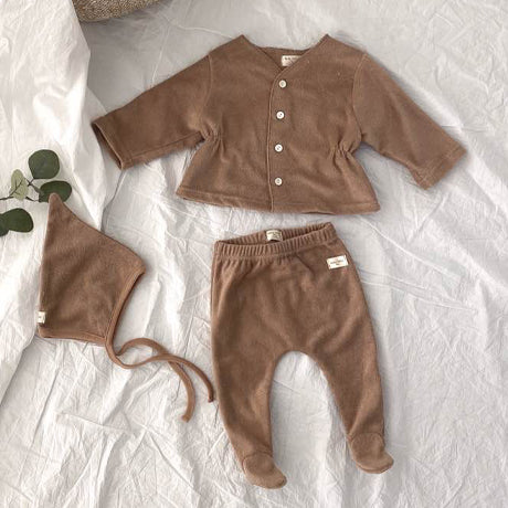 Terry Button Up with Leggings & Bonnet (Mocha)