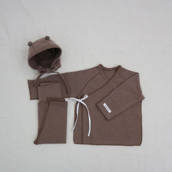 New Bebe Kimono Top with Leggings & Bonnet (Cocoa)