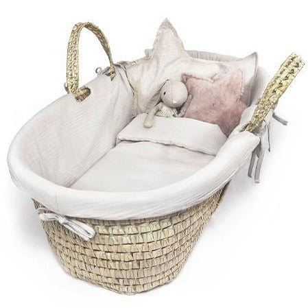 Organic Cotton Moses Basket Liner & Linen 4 Piece Set (Cloud)