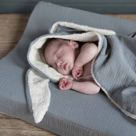Bunny Terry and Muslin Cotton Swaddle (Grey)