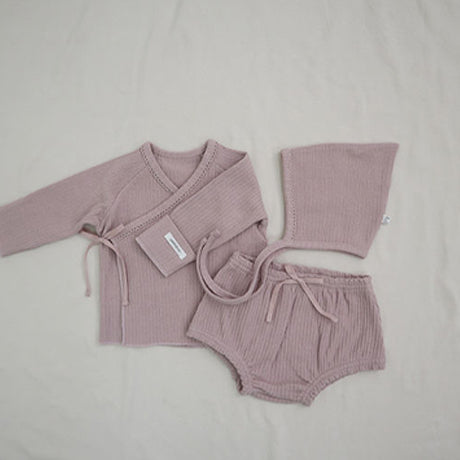 New Bebe 3 Piece Set; Romper, Bloomers & Bonnet (Blush)