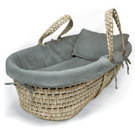 Organic Cotton Moses Basket Liner & Linen 4 Piece Set (Grey)