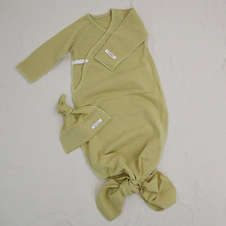New Bebe Kimono Swaddle Suit with Knot Hat (Olive)