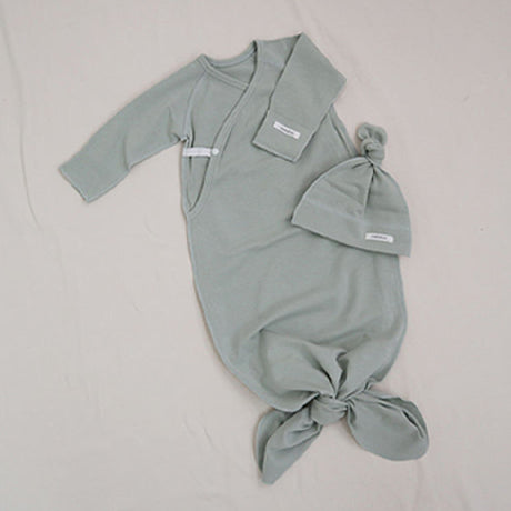 New Bebe Kimono Swaddle Suit with Knot Hat (Sage)