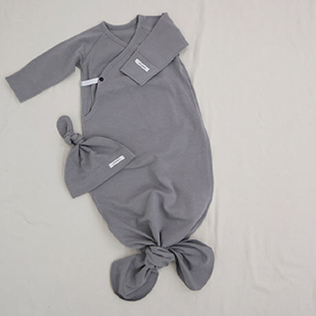 New Bebe Kimono Swaddle Suit with Knot Hat (Grey)