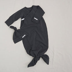 New Bebe Kimono Swaddle Suit with Knot Hat (Charcoal)