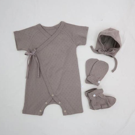 New Bebe 4 Piece Set; Pointelle Romper, Booties, Mitts & Hat (Mocha)
