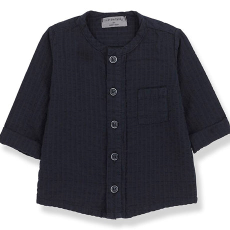 Oyon Cotton Textured Button Up Top (Navy)