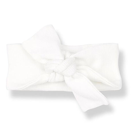 Organic Rib Jersey Bow Knot Headband (Off White)