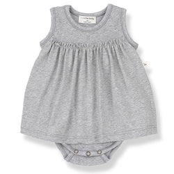 Sybilla Organic Cotton Romper Dress (Grey)