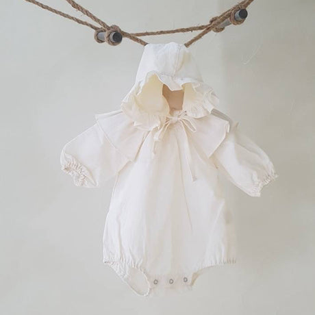 Sky Romper and Bonnet Set (Ivory)
