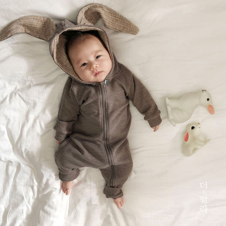 Bunny Ears Rabbit Romper Suit (Mocha Grey)