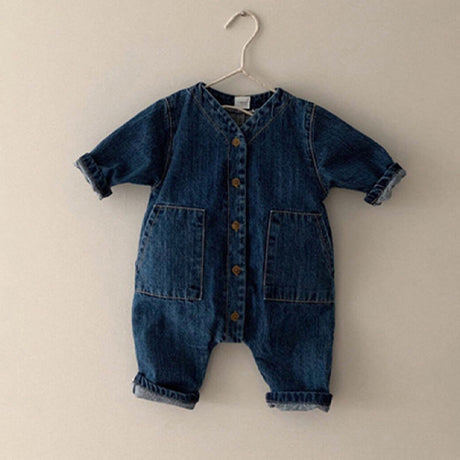 Zenon Button Romper Overalls (Denim)