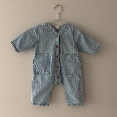 Zenon Button Romper Overalls (Light Denim)