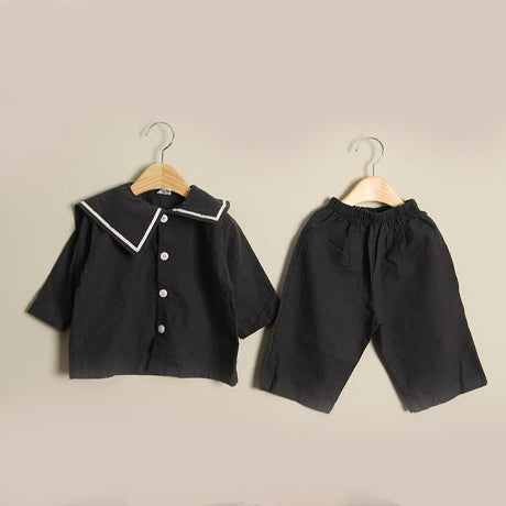 Garda Unisex Collar Shirt and Trousers Set (Charcoal)