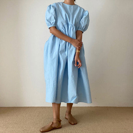 Mama Cabo Puff Sleeve Dress (Sky)