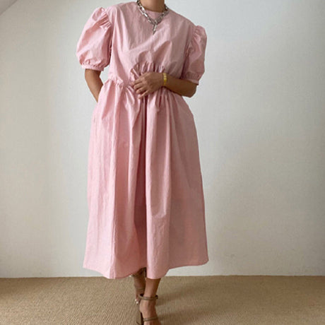 Mama Cabo Puff Sleeve Dress (Pink)