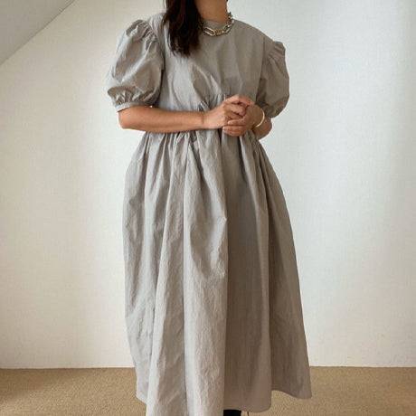 Cabo Puff Sleeve Dress (Grey)