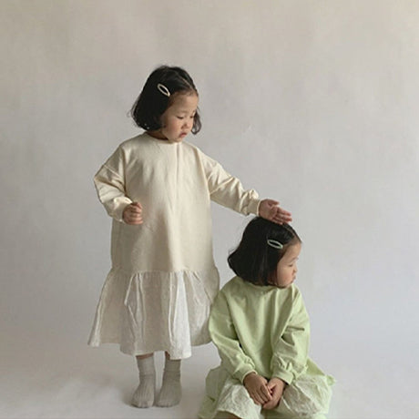 Luna Anglaise Sweatshirt Dress (Cream)
