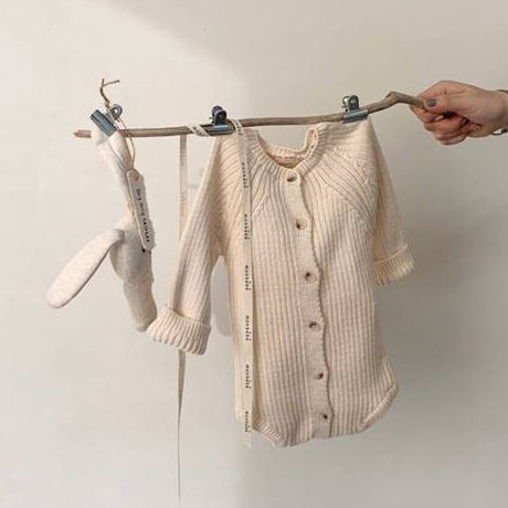 Axel Rib Knit Button Romper (Beige)