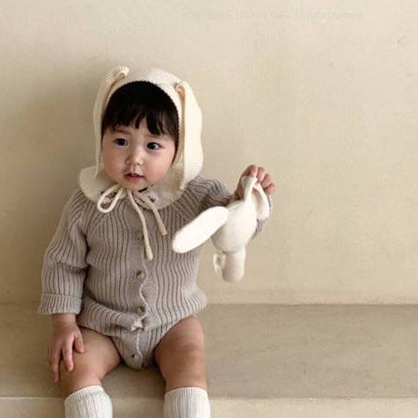 Axel Rib Knit Button Romper (Ivory)