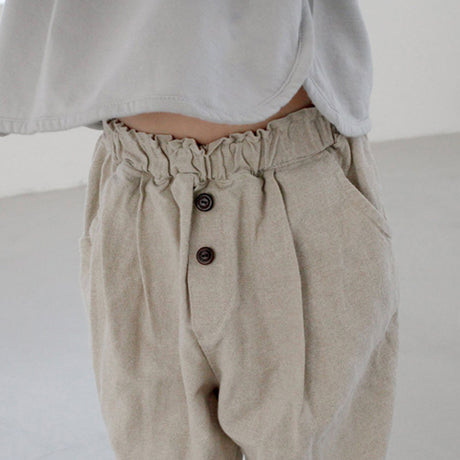 Zio Button Linen Mix Trousers (Beige)