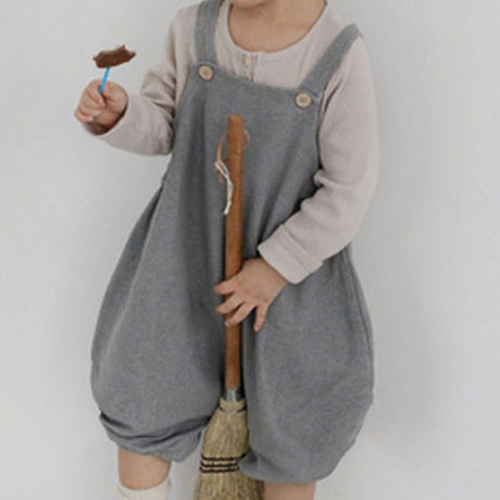 Noah Crop Dungaree Overalls (Grey)
