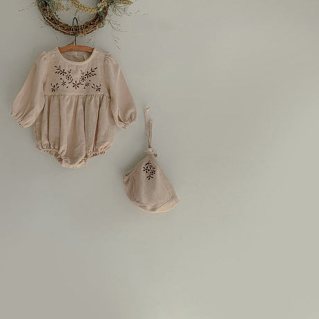 Embroidered Bloomer romper and Bonnet Set (Ivory)