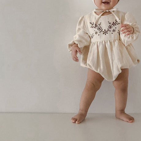 Embroidered Bloomer romper and Bonnet Set (Clay Pink)