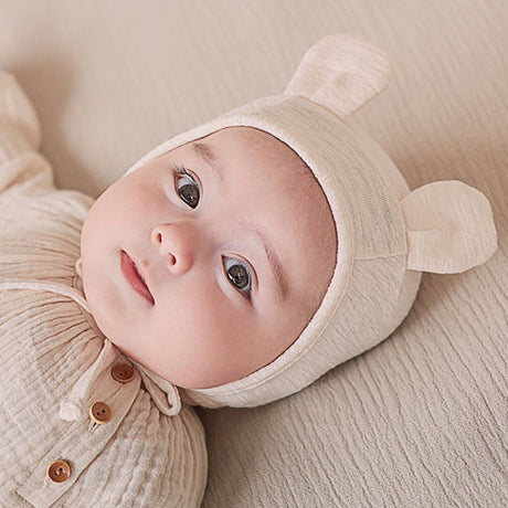 Bear Ears Soft Cotton Bonnet Hat (Ivory)