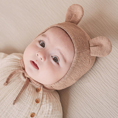 Bear Ears Soft Cotton Bonnet Hat (Beige)
