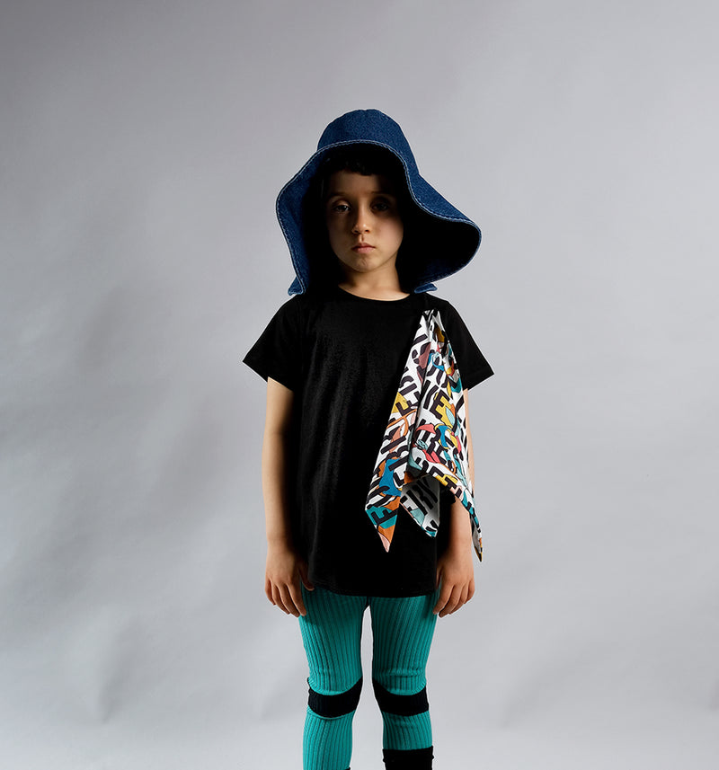 Wolf & Rita Black Kids Motto Luana Tunic Top