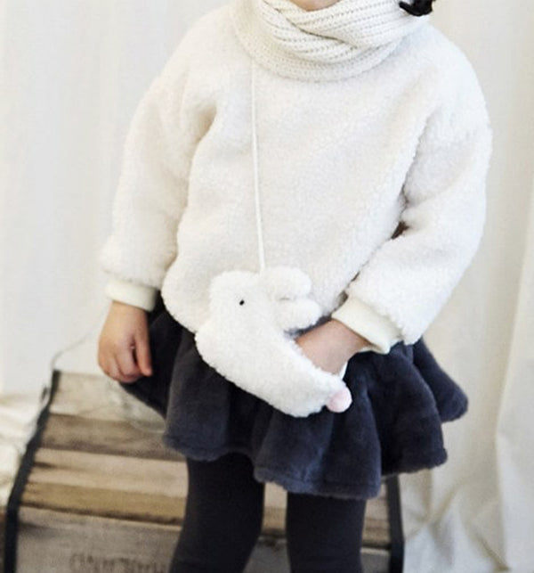 fluffy sweatshirt with matching bag set. Bunny bag and jumper set for girls