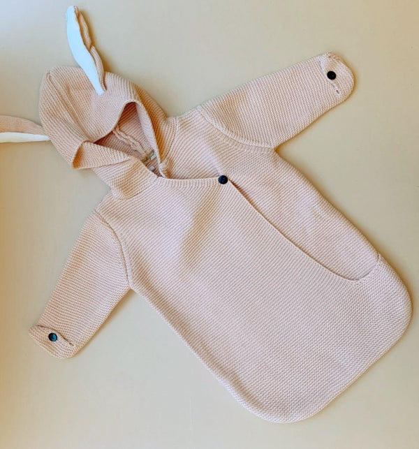 grey bunny ears hooded knit blanket baby romper