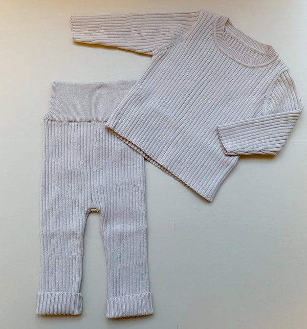 Arlo Ribbed Knit Set (Beige)